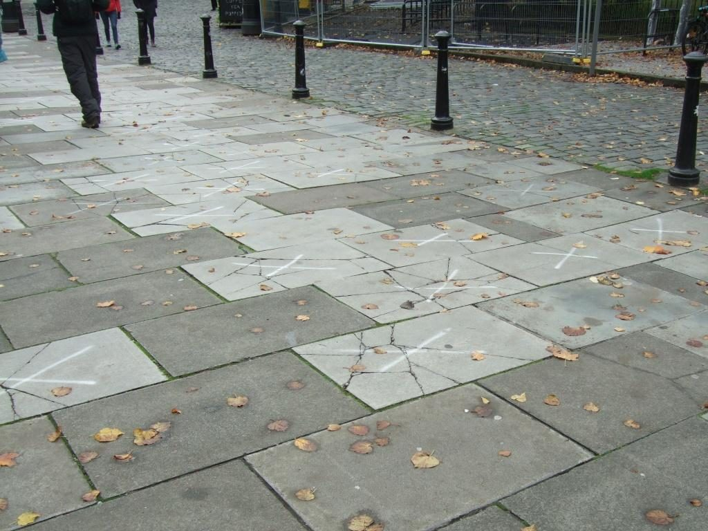 cracked pavements and bollards