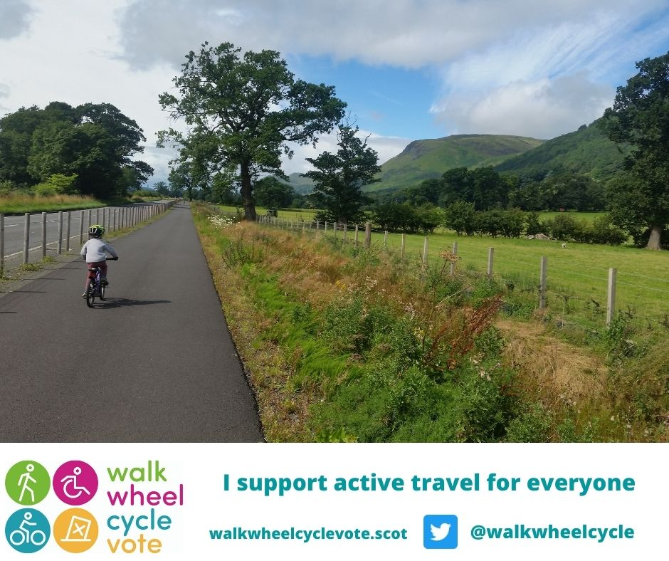 Image of child cycling on cycle path with 'I support active travel for everyone'.